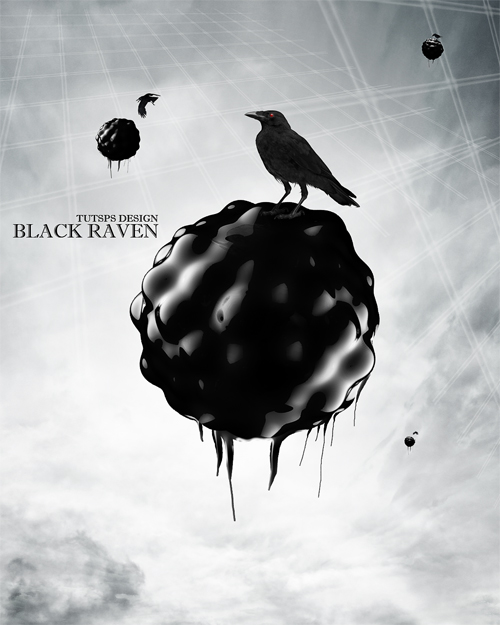 Black raven deign avec photoshop