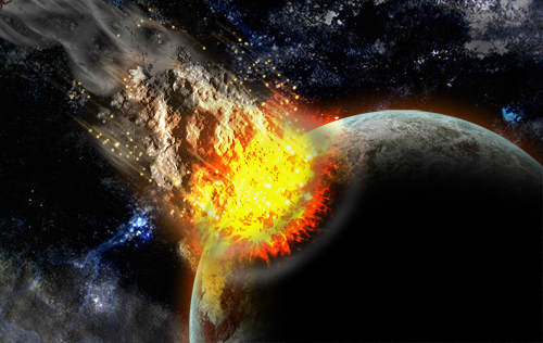 Création d'une collision entre un astéroïde et une planète avec photoshop
