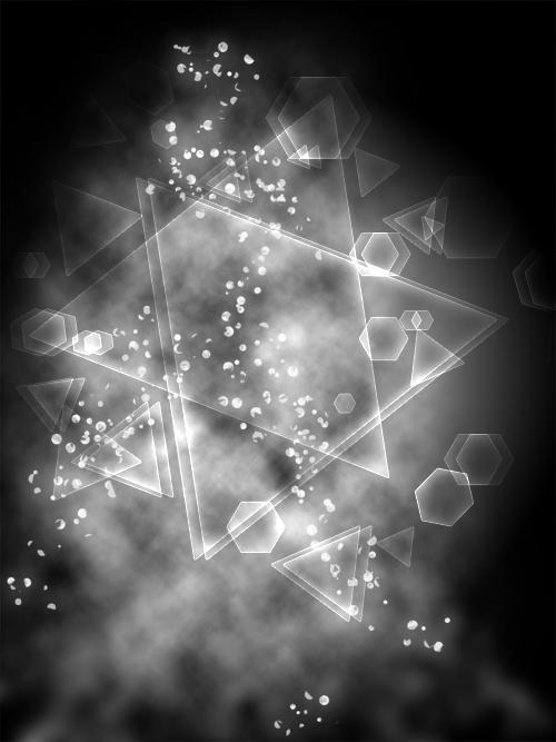 Effet de particule géométrique en Noir et Blanc