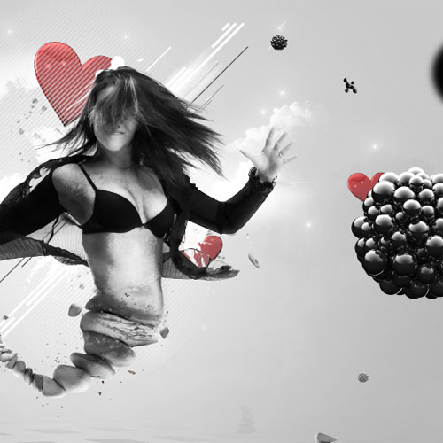Montage Heart of life avec Photoshop et cinema 4D