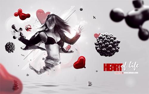 Montage Heart of life avec Photoshop et cinema 4D