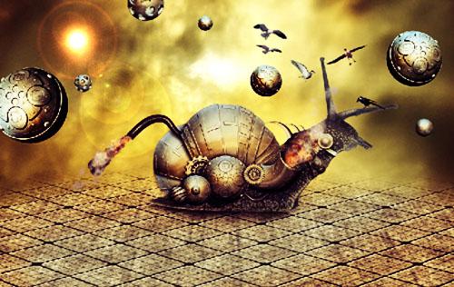 Un escargot métallique avec Photoshop