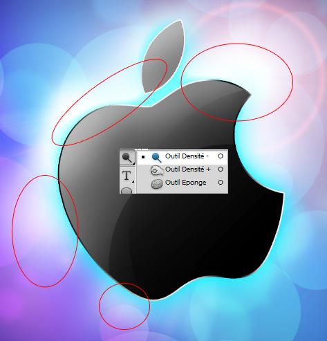 créer un abstrait avec comme fond d'écran le logo d'Apple
