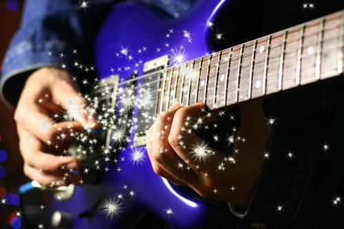 Tutoriel effet de superbe particule lumineu sur une guitare électrique