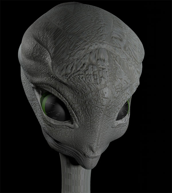 Alien premier contact avec Photoshop et cinema4d