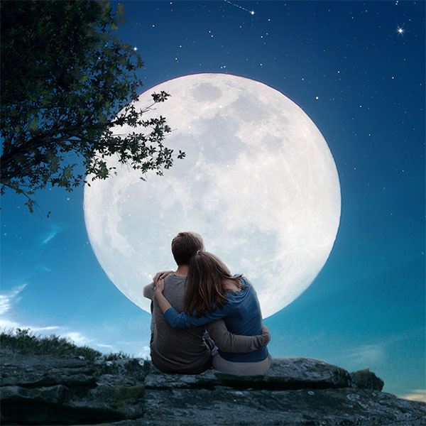cr u00e9er une sc u00e8ne de pleine lune romantique sous photoshop