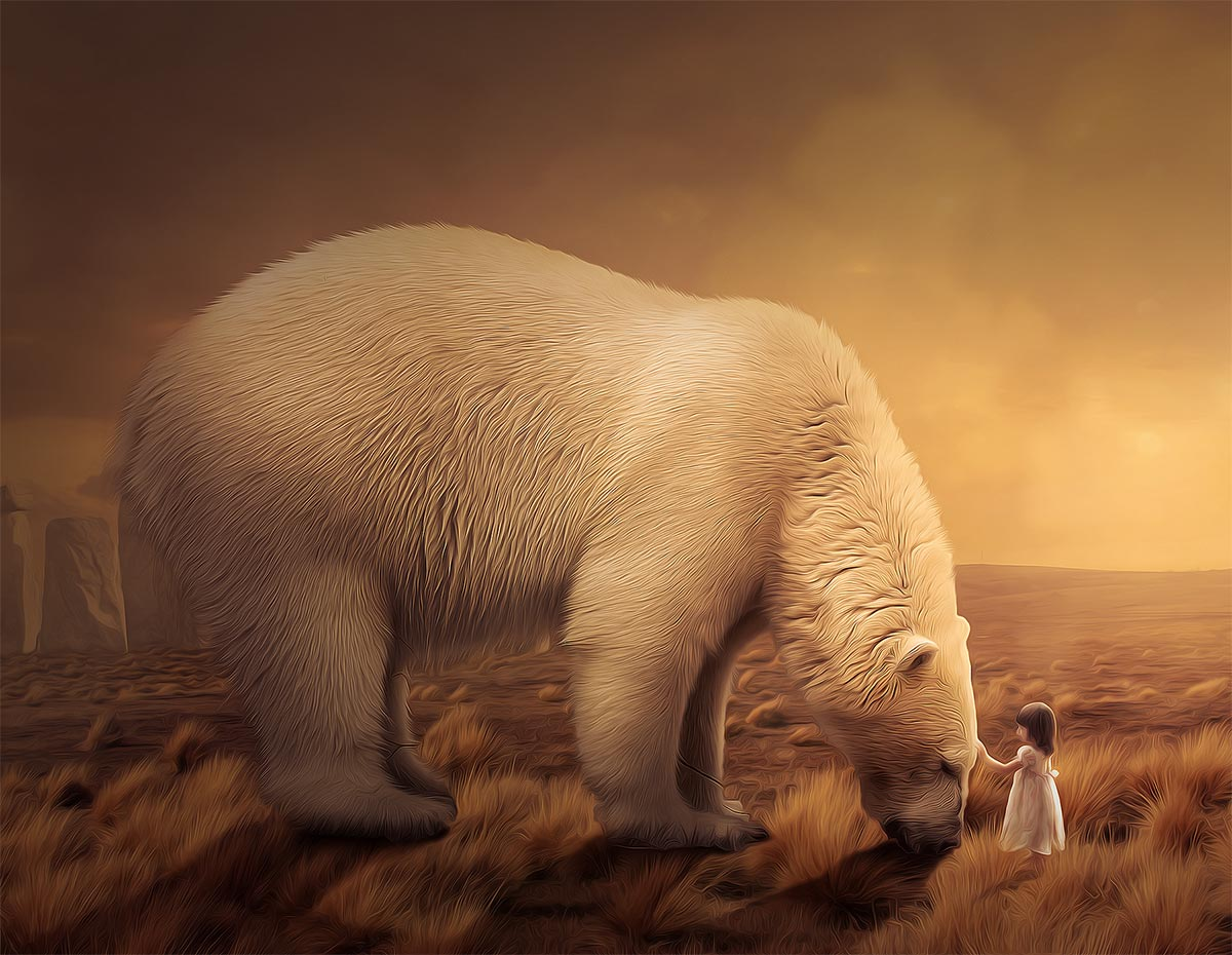 photo manipulation un ours blanc en d u00e9tresse