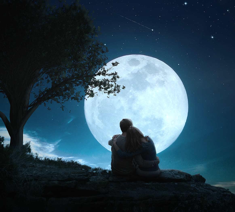 cr er une sc ne de pleine lune romantique sous photoshop cc 2017. Black Bedroom Furniture Sets. Home Design Ideas